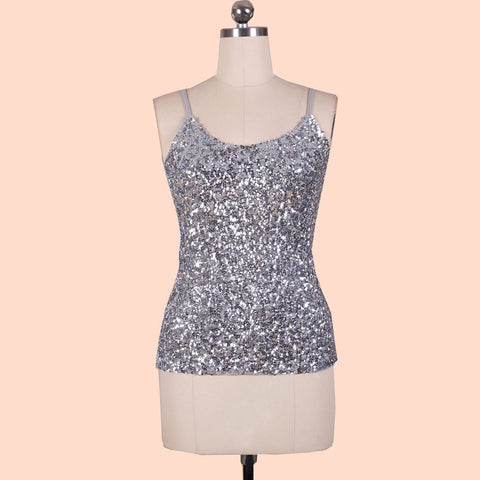 Silver Sequined Spaghetti Strapped Tank - Limited Supplies!