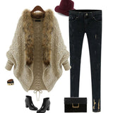 Wool Sweater Knit Cape With  Faux Fur Collar  & Big Sleeves
