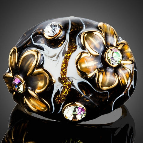 Golden Brown Flower Stellux Austrian Crystal Oil Painting Pattern Ring