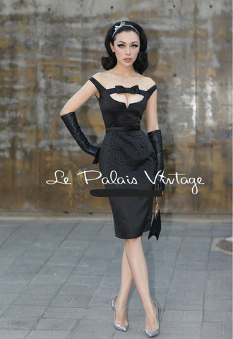 Le Palais Vintage - 1950's Audrey Hepburn Black Beaded Dress W/Bow Tie