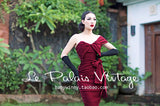 "Le Palais Vintage - ""The Hedy Lamarr"" - Fold Over Strapless Wine Colored Dress"
