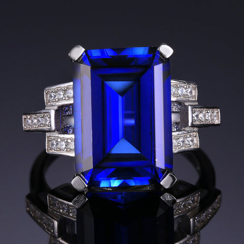 Real 9 Carat Sapphire Ring W' 925 Sterling Silver Setting!!!!!