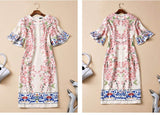 Vintage Bell Sleeve Appliqué Tea Length Dress  -   New Arrival