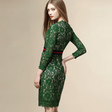 Green Lace Jersey Dress