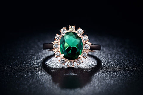 """The Dynasty"" 18K Gold Plated Inlaid Emerald AAA Zirconia Cocktail Ring"