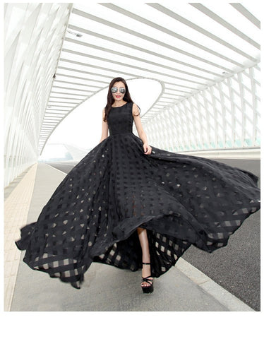 Vintage Black Party Dresses Organza Maxi - So you & what a statement!