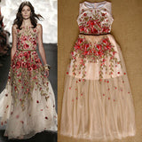 Floral Floor Length Gown Sleeveless Sheer Mesh Embroidered Gem! NOW S - XL!