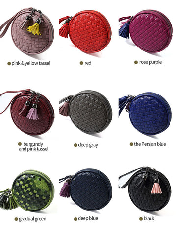 Small Round Clutch Coin Purse W/Weave &Tassel: So Adorable !