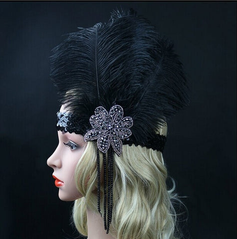 Back In Stock! 1920's Flapper Black Ostrich Feather Headpiece