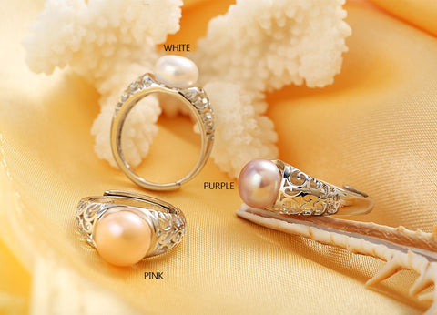 Fleur De Lis 100% Freshwater Pearl Ring, Adjustable, in 3 Colors: White, Purple, Pink Pearls