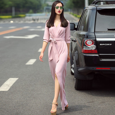 Elegant Belted Wrap Around Maxi Dress W/ Slit Size S-XXL in 6 colors - New Arrival