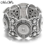 High Quality Snap Button Bracelet Vintage Flower 5 Buttons Silver Snap Bracelet Bangle Button Bracelets 18mm Snaps Jewelry