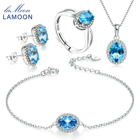 LAMOON Oval Natural Blue Topaz Jewelry Sets