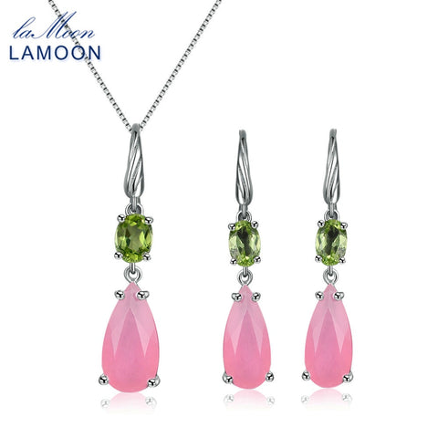 Lamoon natural rose quartz and peridot earrings and necklace set