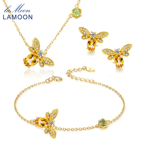 LAMOON Bee Jewelry Set 100% Natural Citrine .925 sterling silver Necklace, Earring, Ring