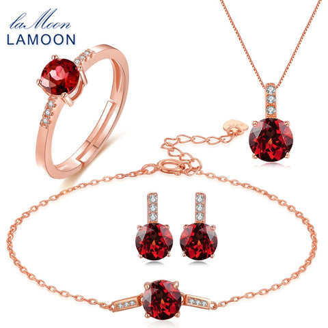 LAMOON  100% 2ct Natural Red Garnet Jewelry Set: Ring, Earrings, Bracelet, Necklace