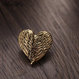 Snap It Vintage Heart Shape Angel Wings 18mm Snap Buttons In 3 Styles Silver, Copper, Gold