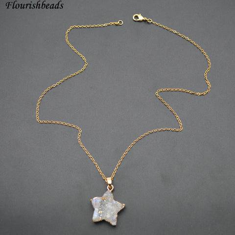 Natural White Druzy Agate Star Shape Pendant - Wish Upon A Star Necklace!