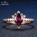 LAMOON 100% Natural Teardrop Red Garnet Ring 925 Sterling Silver Jewelry Rose Gold and ADJUSTABLE