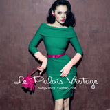 Le Palais Vintage Gorgeous Green Cowl One-Piece Dress - Holiday Go To