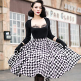 Le Palais Vintage's  1950s Knit Houndstooth Rockabilly Black and White Skirt
