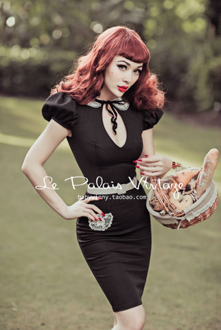 Le Palais Vintage's 1950's Waitress Peter Pan Collar Babydoll Dress