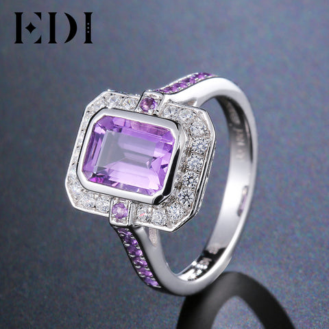 EDI Authentic 925 Silver Natural Amethyst Engagement Ring Classic Noble Luxury