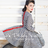 Le Palais Vintage - 40's, 50s Black Gingham Circle Swing Rockabilly Dress