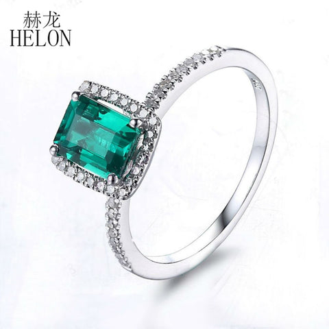 1.1ct Real Rectangular Emerald In Pave Setting Surrounded by 0.2ct Diamonds and Solid 10K White Gold Band
