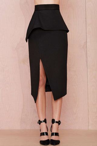 Currently Sold Out Le Palais Vintage -  (XS-4XL)Black Tulip Skirt With 1950s Pencil/Peplum Style