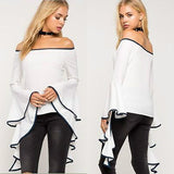 You Put The Caz in Casual Chic! Flamingo Dancer -Off-Shoulder Long Sleeve Top