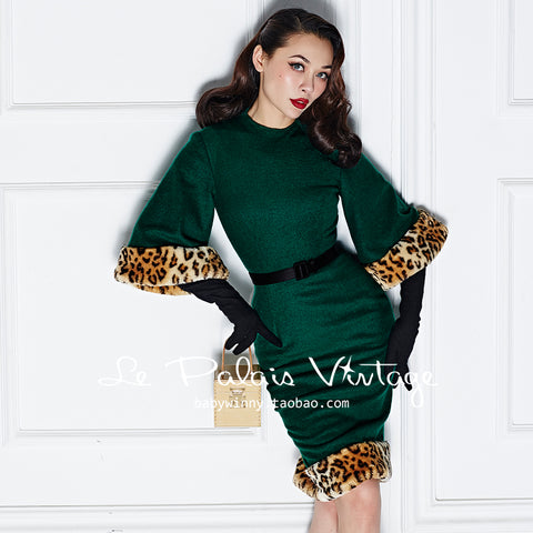 Vintage Green Wool Dress With Leopard Trim  - Class Never Looked So Sexy