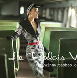 Le Palais Vintage Pinup 1940's Houndstooth Dress Coat