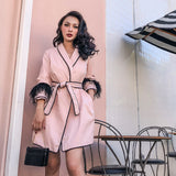 Le Palais Vintage - Ostrich Hair Sleeve Pajama Trench in Pink or Black! ONLY 5  LEFT OF Ea. COLOR!