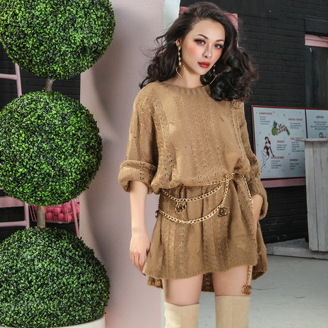 Le Palais Vintage - Stylish Hand Knitted Cable Sweater Mini Dress - 3 Colors, One Size Fits All