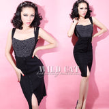 Wild Cat - Vintage Knitted High-Waist Pencil Skirt with Suspenders: 5 Colors