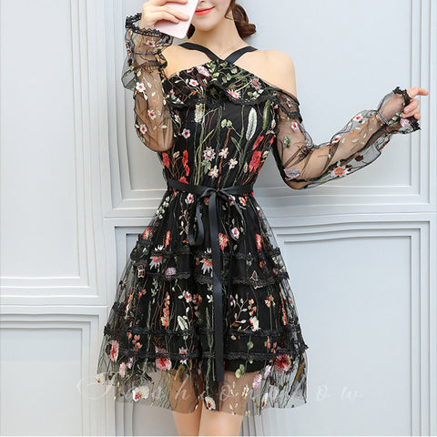 74389d67bac Halter Embroidery Drapey Flower Summer Dresses  Red White or Black Florals
