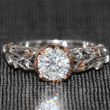1K Moissanite Diamond Ring With Real Diamond Accents, Solid 14 K, 585  Rose White Gold