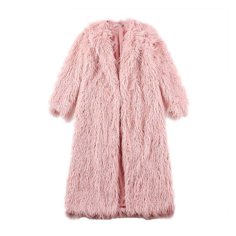 New! Le Palais Vintage's Pretty In Pink Fluffy Looped Faux Fur Long Coat