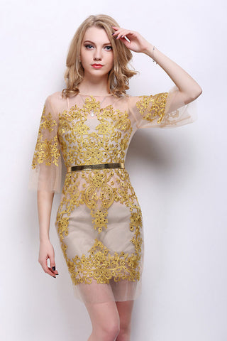 Translucent Yarn Mesh Embroidery Dress - In 4 Colors: Gold, Red, Blue & White