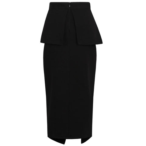 Le Palais Vintage -  (XS-4XL)Black Tulip Skirt With 1950s Pencil/Peplum Style