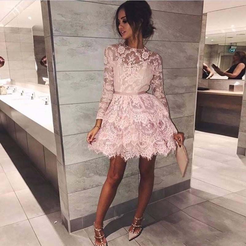 New Sweety Long Sleeves Short Prom Gowns Jewel Neck Tiered Layers Knee-Length Evening Gowns Formal Party Dress Custom Made
