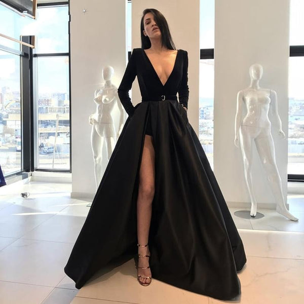 Vestidos Sexy V-neck Black Formal Dresses A Line Long Sleeves High Side Split Long Prom Party Gowns Satin Pageant Dresses