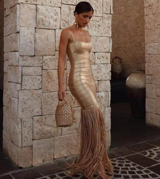 Top Quality Gold Slip Tassel Long Rayon Bandage Dress Elegant Evening Party Dress