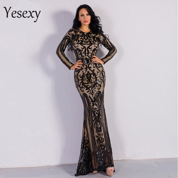 Yesexy 2019 Sexy O Neck Long Sleeve Retro  Sequin  Maxi  Gorgeous Dress  VR8578-1