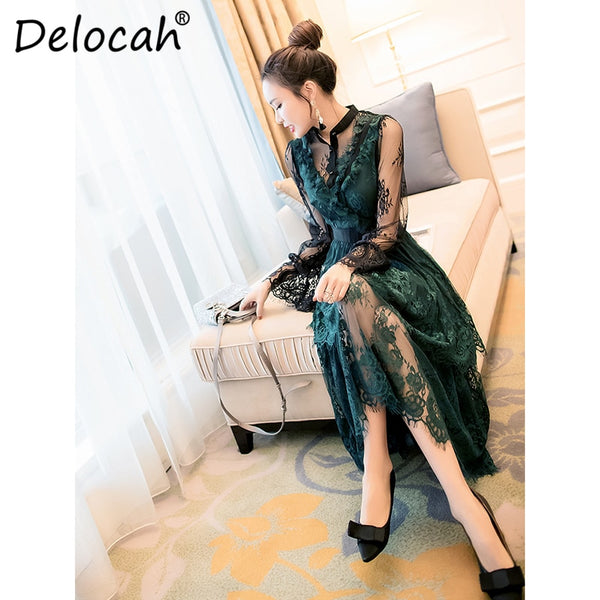 Delocah Women Spring Summer Dress Runway Fashion Designer Gorgeous Mesh Floral Lace Elegant Slim Modern Midi Ladies Party Dress