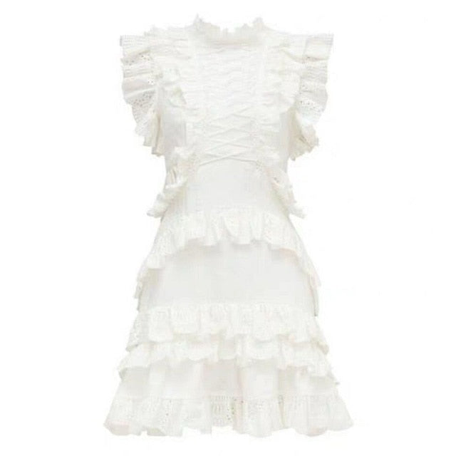 2019 Fashion Summer Lace Up White Hole Women Solid Sweet Ruffle Sleeveless Mini Dress