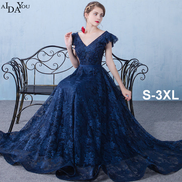 Women Evening long Dresses navy deep v nexk floor length Slim sequined vestido Formal bandage Dress plus size 3xl gown ouc1733
