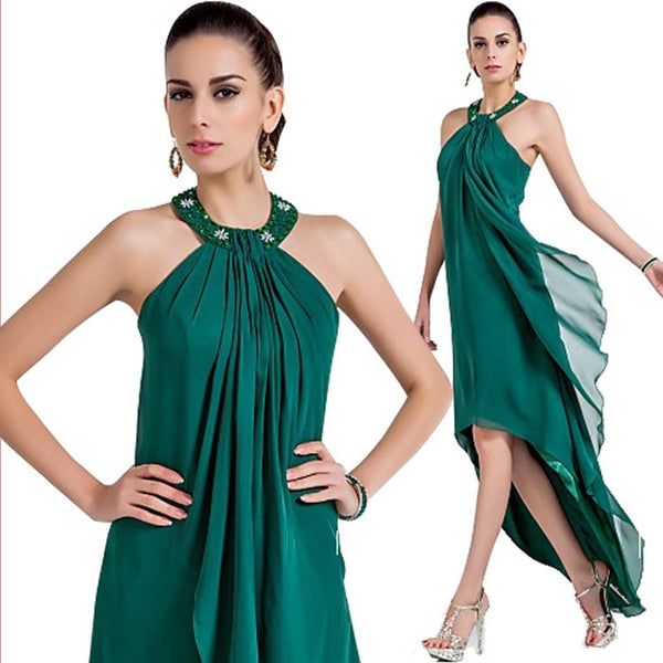 2019 Hot Sale Fashion Dark Green Asymmetrical Evening Gowns Halter Beads Chiffon Party/Holiday Dresses for Prom Plus Size
