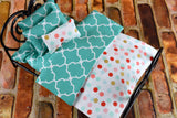 Fashion Doll Bedding - 12 Inch Doll Bedding Set - Teal Quatrefoil